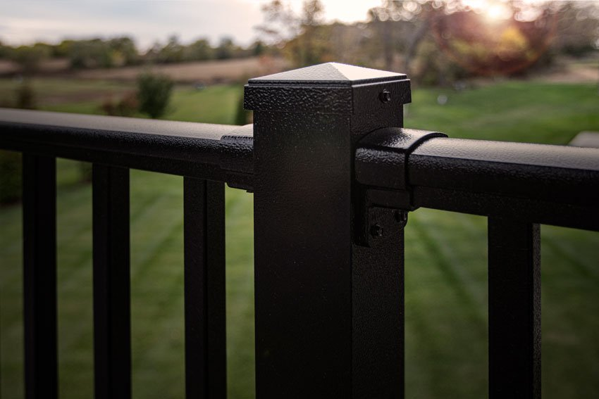 Screen Dude close up of black railing system