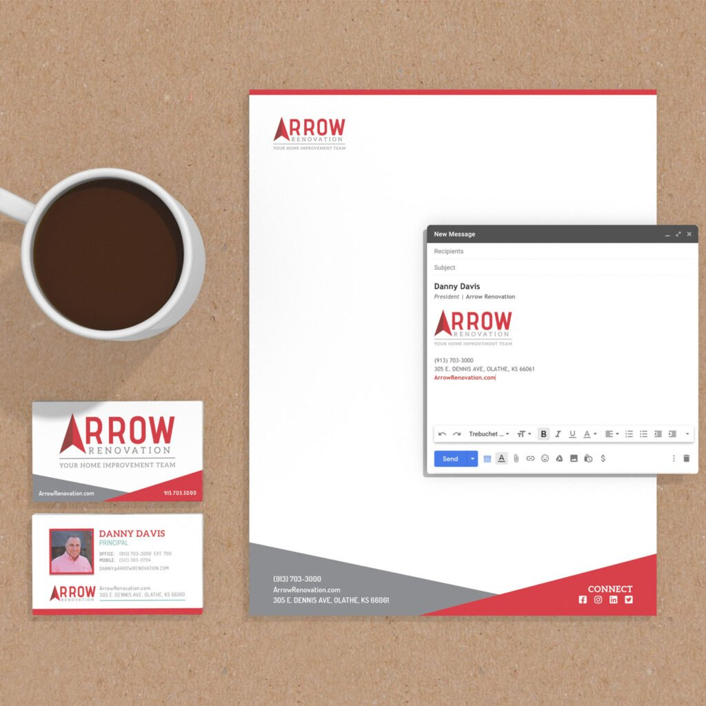 Branding stationary for Arrow Renovation. Business Cards, Letterhead, Email Signature