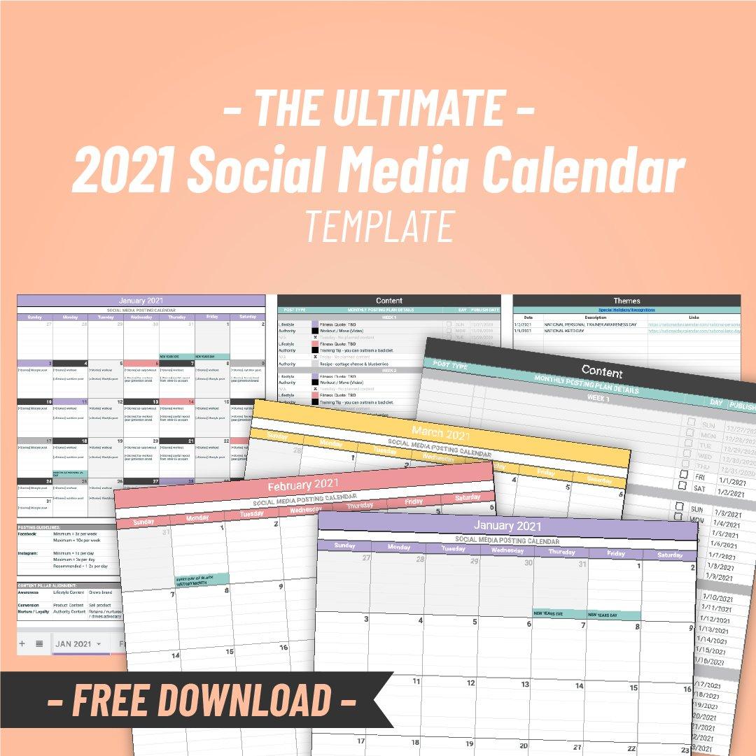 2021 Free Social Media Content Calendar